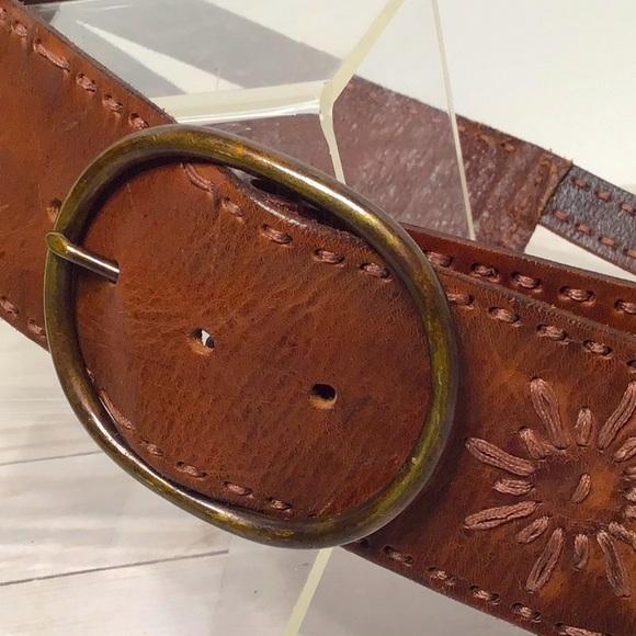 Linea Pelle belt wide cognac stitched double L